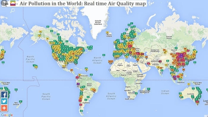 Tracking Current Air Pollution Levels In Cities Across The World - Current world map
