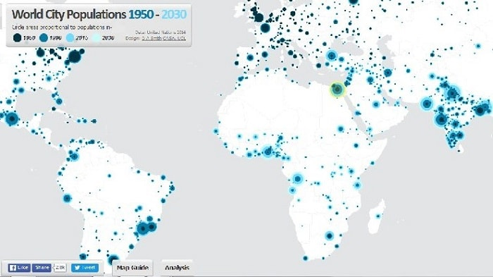 Mapping the worldwide city populations 19502030 ECOURBANHUB