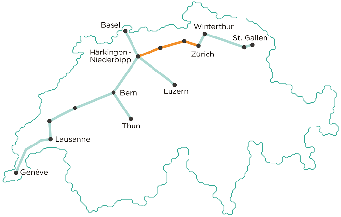 Planned network in Switzerland (Cargo Sous Terrain)