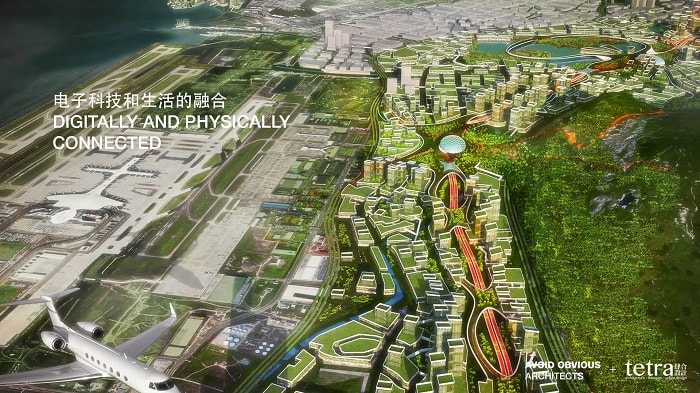 G107 Bao'an by Tetra Architects & Partners and Avoid Obvious in China with drone highway - areal view - eco urban drones