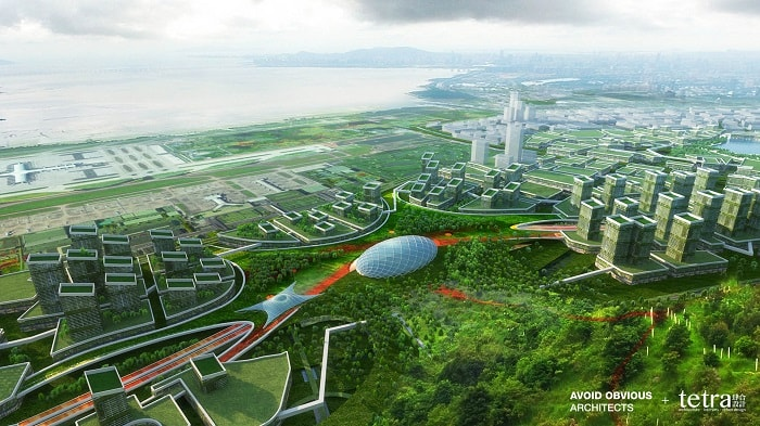 G107 Bao'an by Tetra Architects & Partners and Avoid Obvious in China with drone highway - eco urban drones