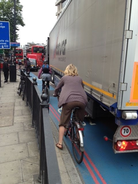 Cycling in London - Cycle Superhighway to Bow at Aldgate East