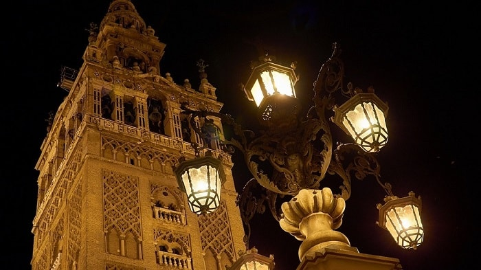 Old Architecture in Seville Spain and Modern LED Street Lighting - eco urban lighting