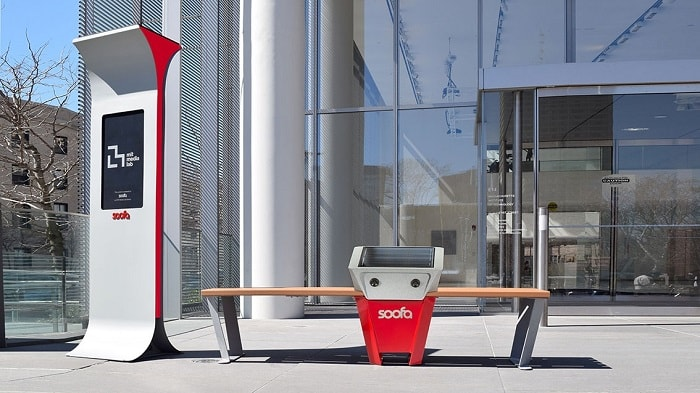 PV-powered Soofa Bench from Soofa and MIT
