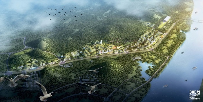Liuzhou Forest City from a bird's eye designed by Italian Designer Stefano Boeri