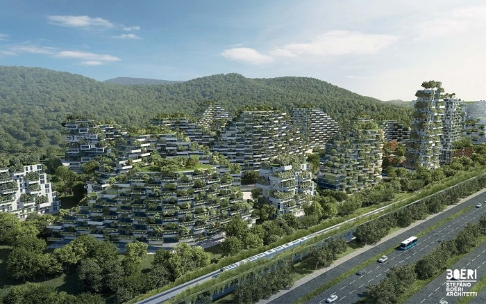 Liuzhou Forest City from a birds eye designed by Stefano Boeri Architetti