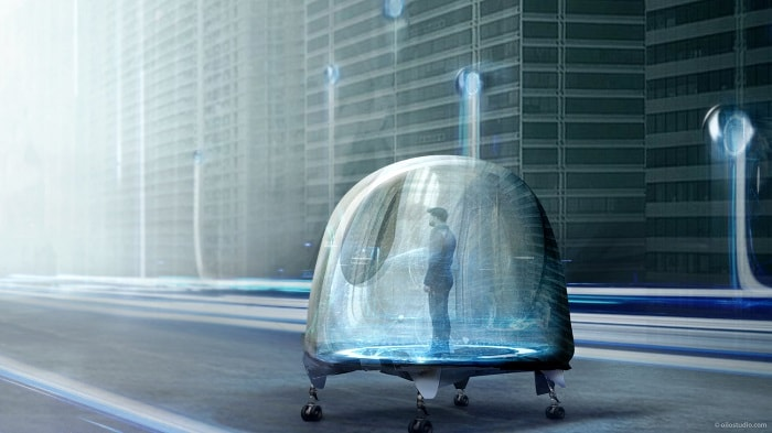 Oiio Architecture - Driving Oto Pod with human being