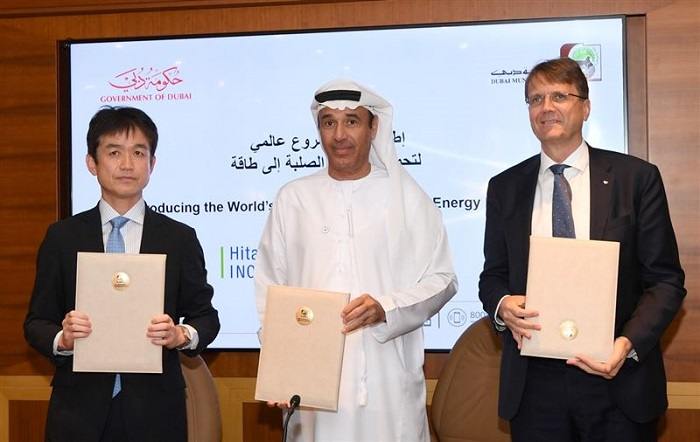 Dubai's waste-to-energy plant - Group picture with Mr. Lootah and companies Besix and Hitachi