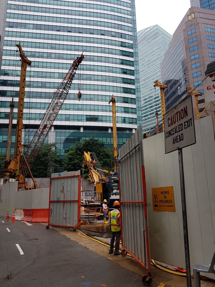 Construction site for Singapore's Green-Focused Skyscraper CapitaSpring from Capitaland in down town