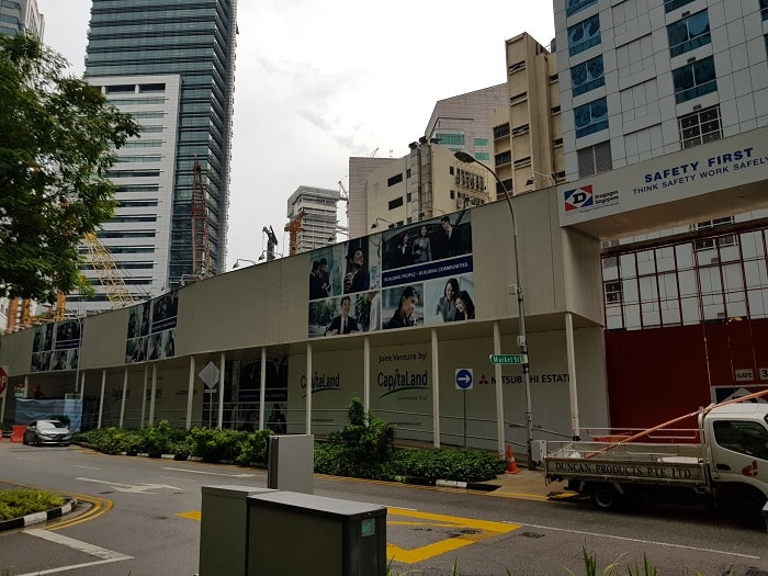 Visual protection of construction site of Singapore's CapitaSpring from Capitaland
