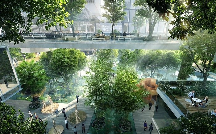 Greenery at Vanke 3D City designed by MVRDV - image Atchain